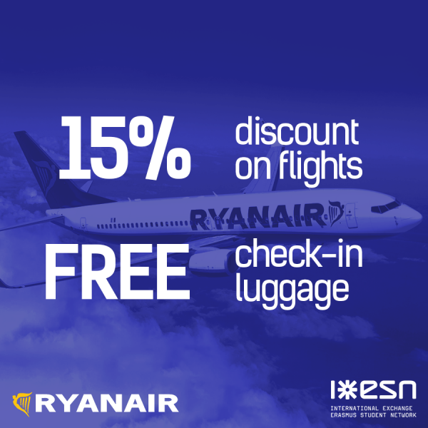 Ryanair discount flights Erasmus students
